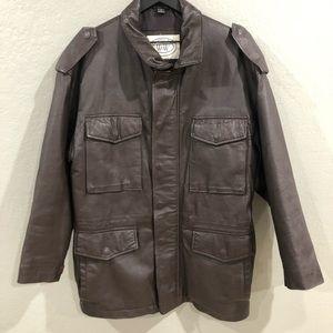 Vintage Brown Leather US Army Field Jacket